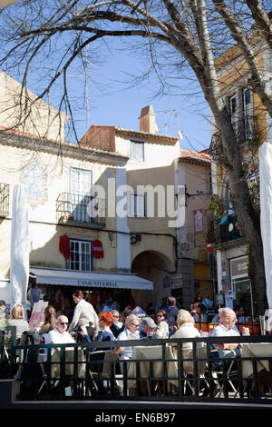 Sintra Restaurants on Praca Da Republica Square in Portugal in Sintra, Portugal - Stock Photo