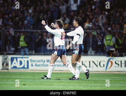 1990 World Cup Qualifier at Wembley Stadium. England 5 v Albania 0. England's Paul Gascoigne celebrates his first - Stock Photo