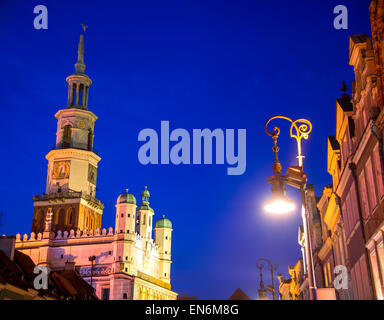 Old Market in Poznan, Poland by night. - Stock Photo