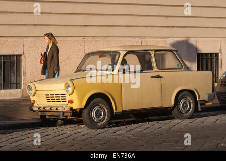 East German Trabant or Trabi on a street in Buda, Budapest Hungary - Stock Photo