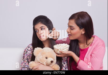 Portrait of two young women - Stock Photo
