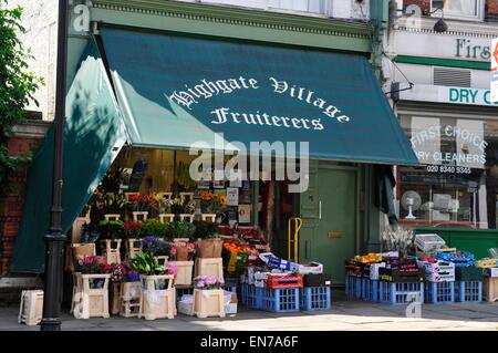 Highgate Village Fruiterers, Highgate, London, England, UK - Stock Photo