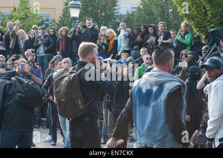Stockholm, Sweden, August 30, 2014: Protests against Neo-Nazi demonstration. - Stock Photo