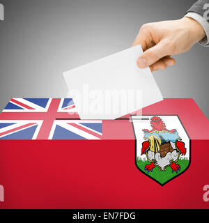 Ballot box painted into national flag colors - Bermuda - Stock Photo