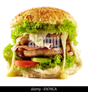 Homemade steak burger with pork chops, bacon, vegetable mix and melted cheddar cheese - Stock Photo