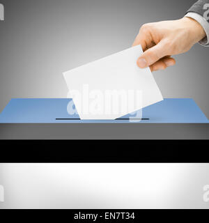 Ballot box painted into national flag colors - Estonia - Stock Photo