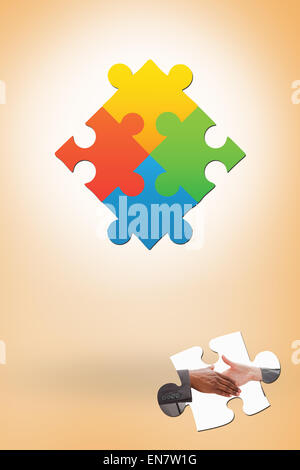 Composite image of businessman going shaking a hand - Stock Photo