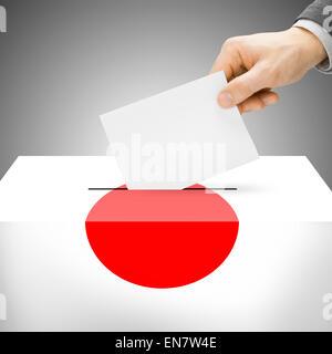 Ballot box painted into national flag colors - Japan - Stock Photo