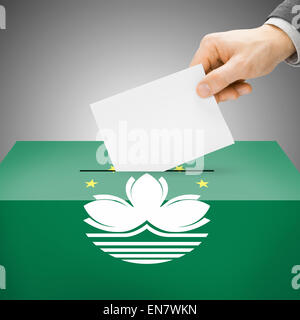 Ballot box painted into national flag colors - Macau - Stock Photo