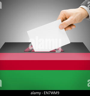 Ballot box painted into national flag colors - Malawi - Stock Photo