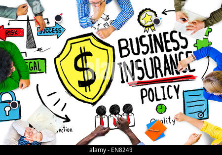 Multiethnic  People Meeting Safety Risk Business Insurance Concept - Stock Photo