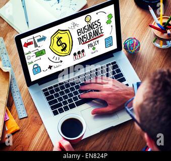 Laptop Technology Risk Business Insurance Concept - Stock Photo