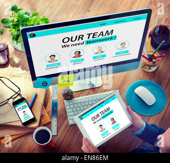 Man Working Computer Organization Team Building Solution Concept - Stock Photo