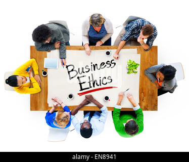 Multiethnic Group of People Discussing About Business Ethics - Stock Photo