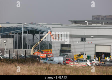 New industrial/retail units under construction in the Midlands UK. - Stock Photo