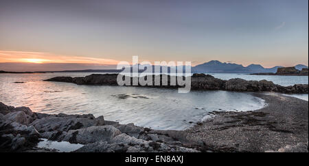 Evening light on Loch Eishort at Tokavaig on the Isle of Skye in Scotland. - Stock Photo