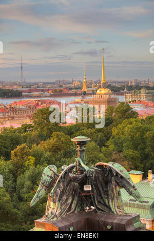 Cityscape of Saint Petersburg seen from Saint Isaac's Cathedral, Saint Petersburg, Russia - Stock Photo