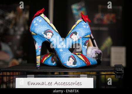 Handmade Snow White pumps by EmmaLee Accessories on display for the fashionable geek girl at Stan Lee's Comikaze - Stock Photo