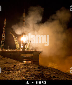 The Soyuz TMA-16M spacecraft is seen as it launches to the International Space Station with Expedition 43 NASA Astronaut - Stock Photo