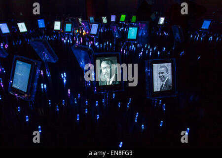Portraits of Martin Luther King, Jr. and President Obama at the Nobel Peace Center in Oslo, Norway - Stock Photo