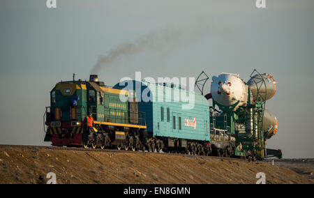 The Soyuz TMA-16M spacecraft is rolled out by train to the launch pad at the Baikonur Cosmodrome, Kazakhstan, Wednesday, - Stock Photo