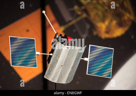 A model of the MErcury Surface, Space ENvironment, GEochemistry, and Ranging (MESSENGER) spacecraft is seen at an - Stock Photo