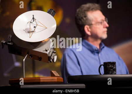 A model of the New Horizons spacecraft is seen during a New Horizons mission briefing, Tuesday, April 14, 2015 at - Stock Photo