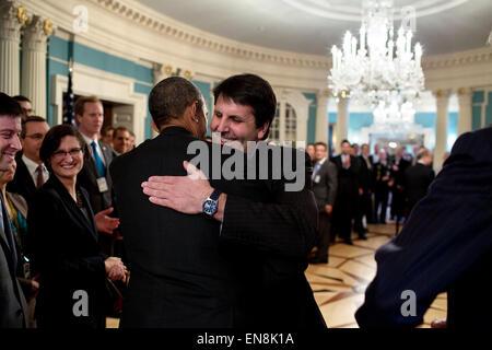 President Barack Obama greets Mark Lippert, U.S. Ambassador to the Republic of Korea, at the U.S. Department of - Stock Photo