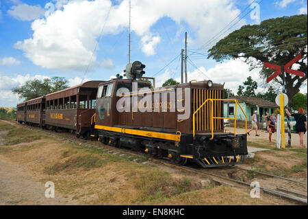 Horizontal view of an old locomotive engine and carriages at Valle de los Ingenios. - Stock Photo