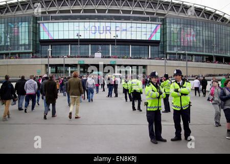 policing outside Wembley stadium on game day London UK - Stock Photo