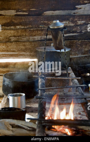 Vertical view of an open flame stove in a farm kitchen in Cuba. - Stock Photo