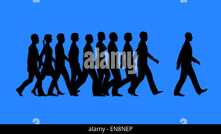 Leader heading the team. Lead by example / work as a team concept. - Stock Photo