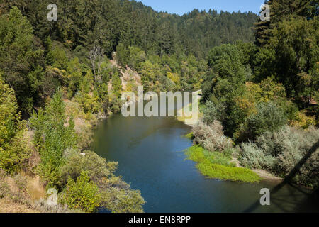 The Russian River seen from a bridge near Guernville in Northern California. - Stock Photo