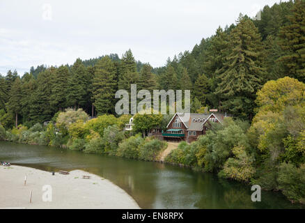 The Highland Dell Lodge on the Russian River in Monte Rio California. - Stock Photo