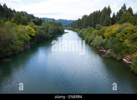 A view of the Russian River near Guernville in Northern California. - Stock Photo
