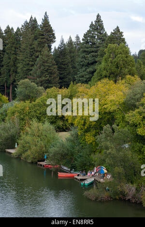 A private dock on the Russian River near Guernville in Northern California. - Stock Photo