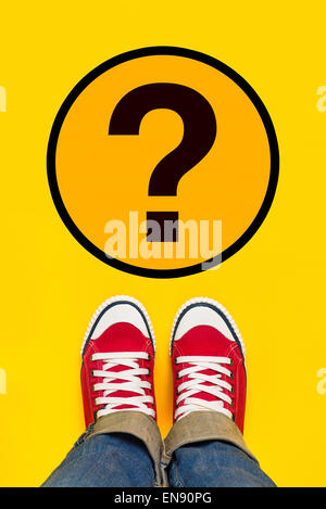 So Many Questions on Young Person Path to Growing Up with Red Sneakers from Above, Top View - Stock Photo