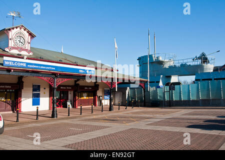 Woodside Ferry Terminal, Birkenhead, with U-Boat Museum in background - Stock Photo