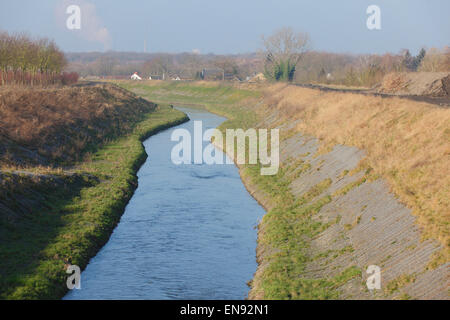 River Seseke, renaturated, Lunen, North Rhine-Westphalia, Germany|Seseke, renaturiert, Luenen, Nordrhein-Westfalen, - Stock Photo