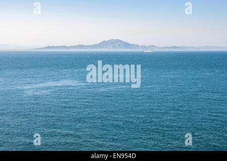 African coast seen from Gibraltar. The Strait of Gibraltar - Stock Photo