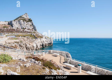 Summit of the Rock of Gibraltar seen from Europa Point - Stock Photo