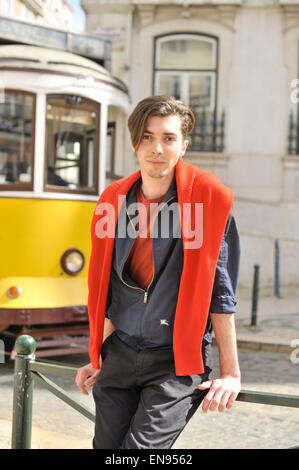 Luis Infante posing on the street in Lisbon, Portugal - April 20, 2015 - Photo: Runway Manhattan/Celine Gaille (Editorial - Stock Photo