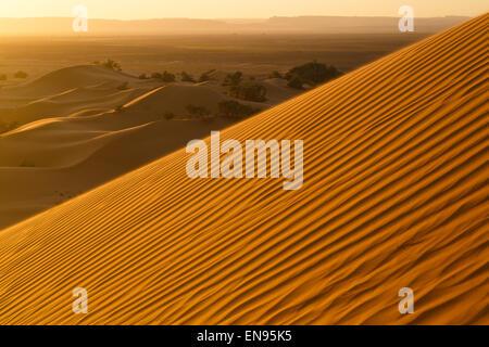 Sand dunes. Lihoudi dunes. Sahara desert. Morocco. - Stock Photo