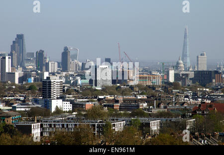 London skyline view from Parliament Hill Hampstead Heath April 2015 - Stock Photo