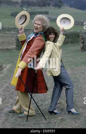 Actor Colin Baker, who plays Doctor Who in the BBC science fiction programme, photographed with his assistant Nicola - Stock Photo