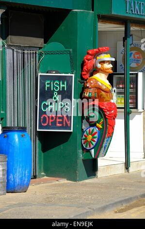 Fish and chip shop open sign whitby North Yorkshire England UK - Stock Photo