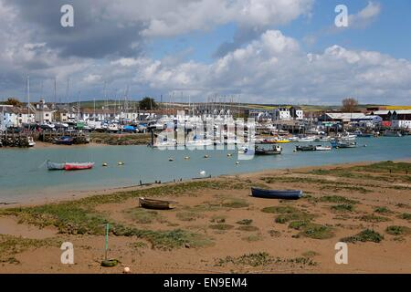 General view of Shoreham-by-Sea and the river Adur. - Stock Photo