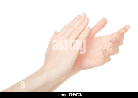 Woman clapping hands, applause - Stock Photo