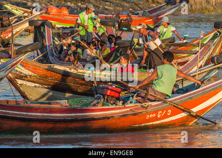 Boats used for transportaion on Ayeyawady river in Yangon. - Stock Photo