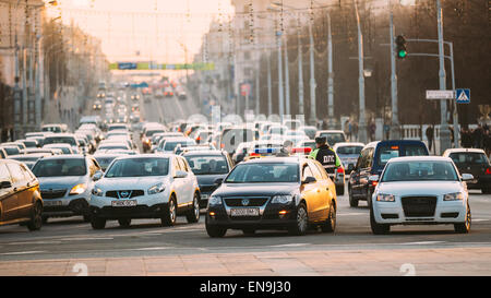 MINSK, BELARUS - MARCH 10, 2015: Busy Movement On Independence Avenue During Evening Time. Traffic Slow Moving On - Stock Photo